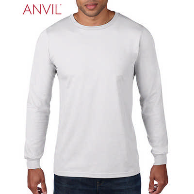 Anvil Adult Lightweight Long Sleeve Tee White